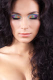 Young woman with fashion make-up and manicure. Beautiful young woman with fashion make-up and manicure Royalty Free Stock Images