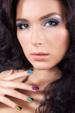 Young woman with fashion make-up and manicure Royalty Free Stock Photos