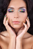 Young woman with fashion make-up and manicure. Beautiful young woman with fashion make-up and manicure Stock Photos