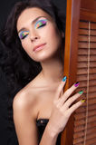 Young woman with fashion make-up and manicure Stock Photos