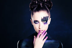 Young Woman Fashion Model. Makeup and Hair Stock Images