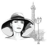 Young woman fashion model in Paris Stock Photos