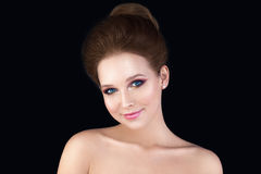 Young Woman Fashion Model. Pretty Face. Brides Hairstyle for Wed Royalty Free Stock Image