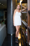 Young Woman Fashion Model in white dress Royalty Free Stock Photo