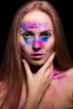 Young woman with fashion powder make up Stock Photography
