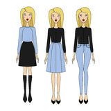 Young woman in fashionable clothes. Girl in dress. casual wear. Young woman in fashionable clothes Royalty Free Stock Image