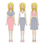 Young woman in fashionable clothes. Girl in dress. casual wear. Young woman in fashionable clothes Royalty Free Stock Photography