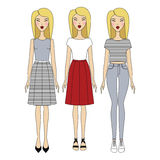 Young woman in fashionable clothes. Girl in dress. casual wear. Young woman in fashionable clothes Stock Photography