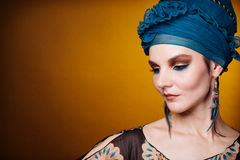 Young woman fasion makeup blue brown Royalty Free Stock Photo