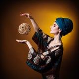 Young woman fasion makeup blue brown Royalty Free Stock Photos