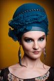 Young woman fasion makeup blue brown Stock Photos