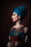Young woman fasion makeup blue brown Royalty Free Stock Image
