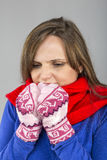 Young woman feeling cold  trying to keep warm, shaking and shive Royalty Free Stock Photography