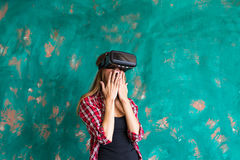 Young Woman feeling shocking for using the virtual reality device Royalty Free Stock Images