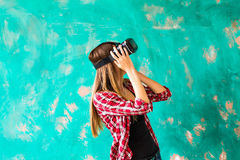 Young Woman feeling shocking for using the virtual reality device Royalty Free Stock Image