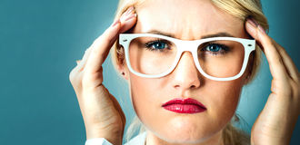 Young woman feeling stressed Royalty Free Stock Photos