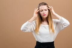 Young woman feeling stressed royalty free stock photography