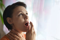 Young woman feels sickness Stock Photos