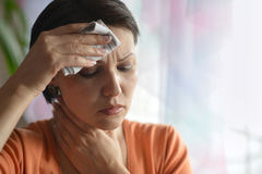 Young woman feels sickness Stock Images