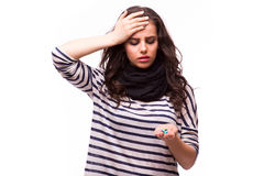Young woman feels unwell. All on white background Stock Images