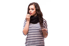 Young woman feels unwell. All on white background Royalty Free Stock Photos