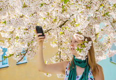 Young woman female girl take measure record device sakura tree Stock Photo