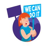 Crowd women feminist. Young woman feminist keep a sign with a protest slogan `we can do it`. She part in protest for freedom rights women. Vector flat icon Royalty Free Stock Image