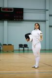 Young woman on a fencing training Royalty Free Stock Photography