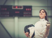 Young woman on a fencing training Royalty Free Stock Photo