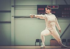 Young woman on a fencing training Royalty Free Stock Photos