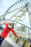Young woman with ferry wheel Stock Image