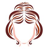 Young woman with festive hairdo, hair and beauty.  vector illustration