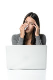 Young woman with a fever and chills Stock Image
