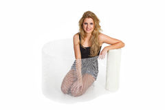 Young woman with fiber mats grid Royalty Free Stock Photo