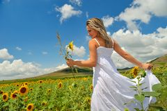 Young woman on field Stock Image