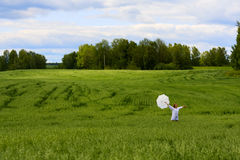 Young woman in a field. Royalty Free Stock Photos