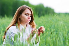 Young woman in a field. Stock Image