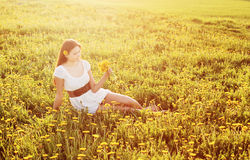 Young Woman on  field Royalty Free Stock Images