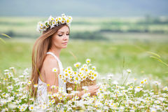 Young woman in a field of blooming daisies Stock Photos