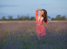 Young woman in the field of blossoming lavender Royalty Free Stock Images