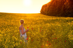 Young woman in a field of rape seed Royalty Free Stock Photography