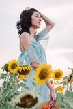 Young woman in the field of sunflowers royalty free stock photography