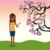Young woman in the field with tree character scene. Vector illustration design Royalty Free Stock Image