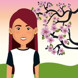 Young woman in the field with tree character scene. Vector illustration design Stock Images