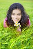 Young woman in field of wheat Royalty Free Stock Photo