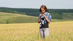 Young Woman in Field of Wheat stock video