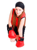 Young woman fighter with boxing gloves Royalty Free Stock Photography