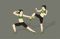 Young woman fighting body combat. Two attractive athletic girls fighting. Vector illustration Stock Image