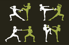 Young woman fighting body combat. Two attractive athletic girls fighting. Vector illustration Stock Photography