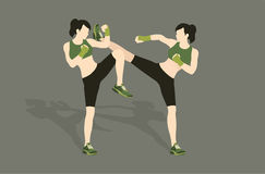 Young woman fighting body combat. Two attractive athletic girls fighting. Vector illustration Stock Images